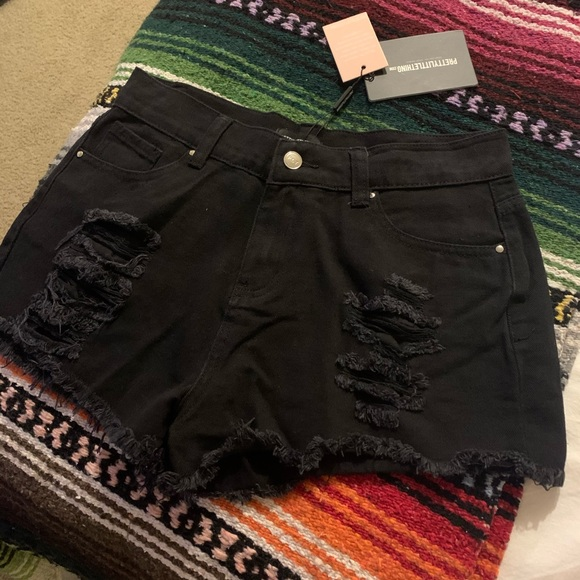 PrettyLittleThing Pants - High Waisted Black Shorts